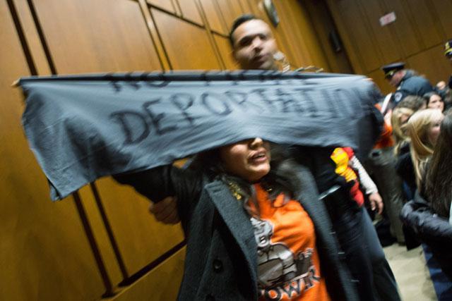 Protesters interrupt Senate hearing. Photo Credit: nbclatino.com